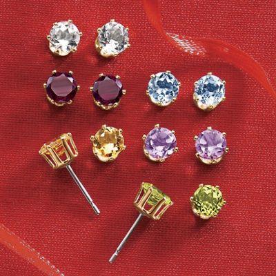 6-Pair Gemstone Post Earrings Set