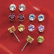 6 pair gemstone post earrings set