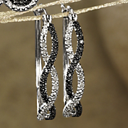 black and white diamond twist hoops