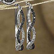 black and white diamond twist hoops