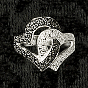 heart lock ring with diamond accents