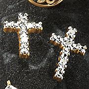 diamond cross post earrings