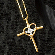 diamond cross heart pendant