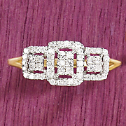 gold diamond 3 square ring
