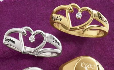 Someone Special Name Heart Ring with Diamond Accents