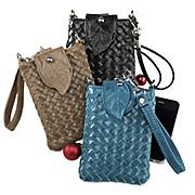 woven smartphone wristlet crossbody bag