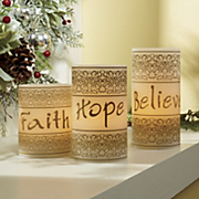 3 piece faith hope believe led candle set