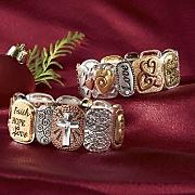 faith tri tone stretch bracelet