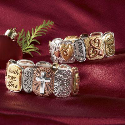 Faith Tri-Tone Stretch Bracelet