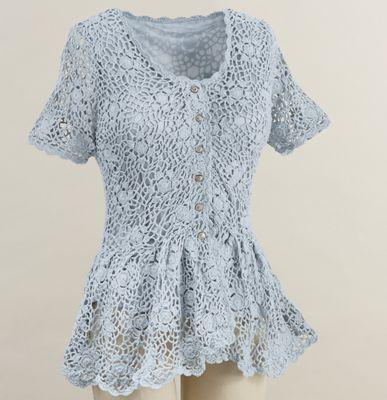Camille Crochet Short-Sleeve Cardigan