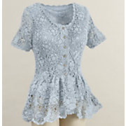 camille crochet short sleeve cardigan