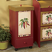Chili Pepper Rolling Trash Bin