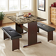 Marble Drop-Leaf Dining Table & Upholstered Bench