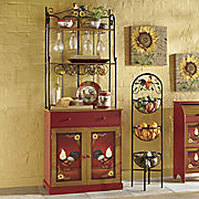 red rooster bakers rack