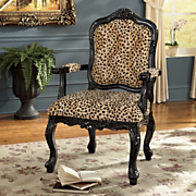 Leopard Hand-Carved Arm Chair