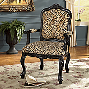 leopard hand carved arm chair