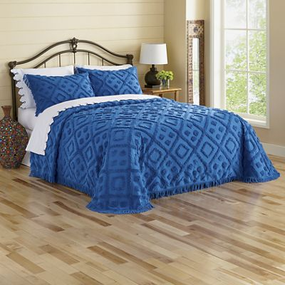 Cozy Diamond-Tufted Chenille Bedspread and Sham