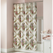 cottage rose shower curtain with attached valance