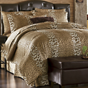 leopard chic faux fur comforter set