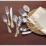 45 piece countess gold accent flatware set