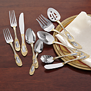 45 piece countess gold accent flatware set