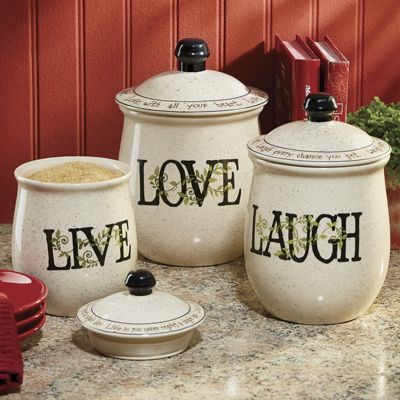 3 Piece Sentiments Canister Set From Through The Country