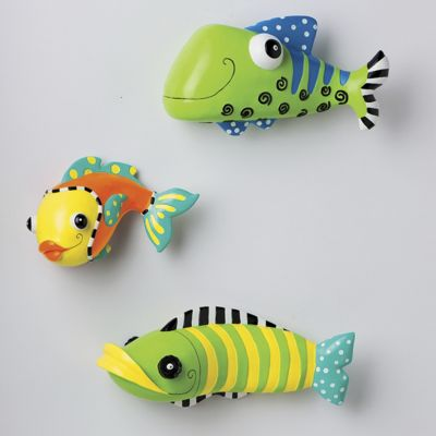 Set of Three 3-D Funky Fish Wall Accents