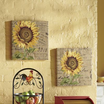 Set of 2 Embroidered Sunflower Canvases