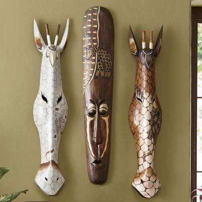 Hand-Carved Safari Giraffe Mask