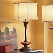 Amber Crackled Glass Table Lamp