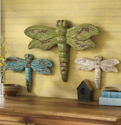 3 piece good luck dragonfly set from through the country for Good luck home decor