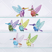 Set of 7 Glass Hummingbirds