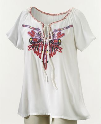 Wildfire Feather Embroidered Top