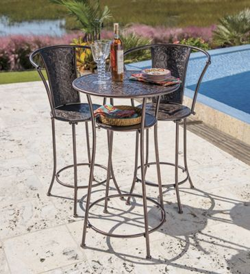Scroll Leaf Bistro Bar-Height Table and Chairs