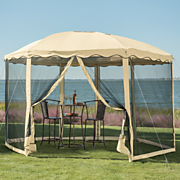 round garden screened gazebo