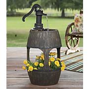 barrel fountain planter