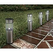 4 piece pathway cylinder light solar stake set