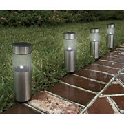 4 piece pathway cylinder light solar stake set