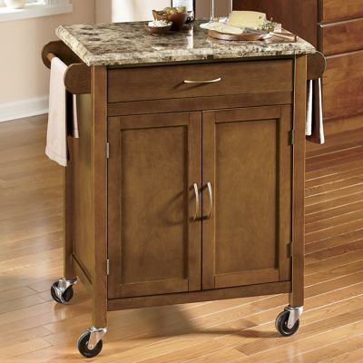 Faux Marble-Top Kitchen Cart