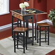 marin black tile island with stools