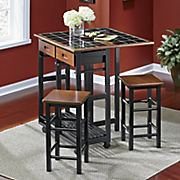 marin black tile island with stools