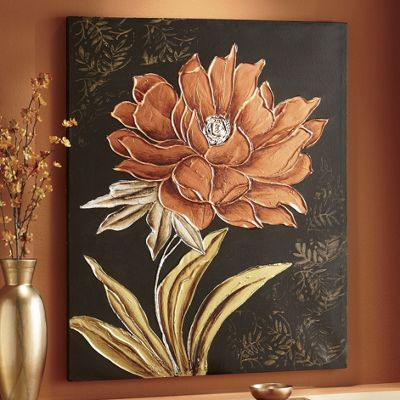 Hand-Painted Copper Floral Canvas