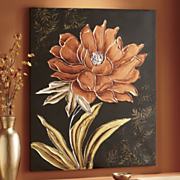 hand painted copper floral canvas