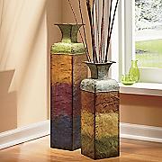 set of 2 harmony metal vases