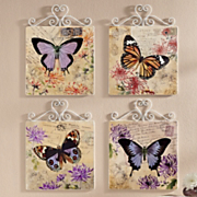 4 piece butterfly wall plaque set