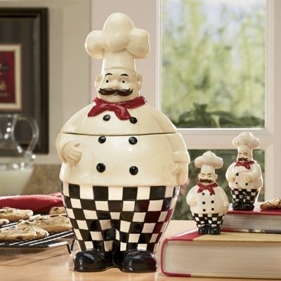 Bon Appetit Chef 4-Piece Cookie Jar and Salt and Pepper Set
