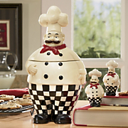 4 piece bon appetit chef cookie jar and salt and pepper set