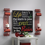 Life Wall Plaque and Set of 2 Red Sconces