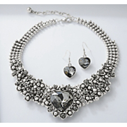 crystal heart vintage necklace and earring set