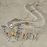 two tone crystal butterfly necklace and earrings set